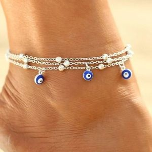 Evil Eye Silver Toned 3 Layer Anklet